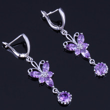 цена на Romantic Long Butterfly Purple Cubic Zirconia 925 Sterling Silver Drop Dangle Earrings For Women V0799
