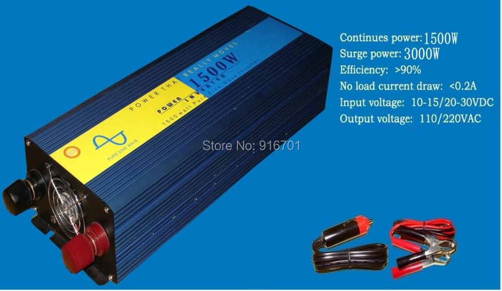 цена на digital Display 1500W (3000W Peak) Pure Sine Wave Solar Power Invertor DC TO AC converter