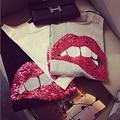 2016 новый бренд весна лето мода новые свободные губы сексуальные 3D футболка расшит блестками Девушка tee досуг топ код