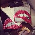 2016 nova primavera verão da marca de moda de nova solto lábios sexy 3D camiseta bordada com lantejoulas t Da Menina de lazer topo código