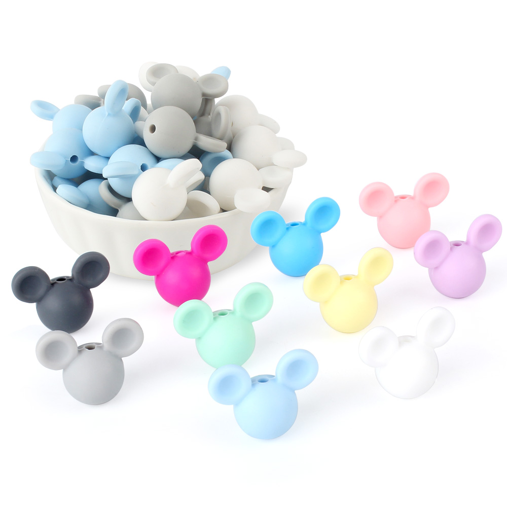 Wholesale 20pcs/lot Mickey Baby Teething Beads Cartoon Silicone Beads For Necklaces BPA Free Teether Toy Accessories Nursing DIY