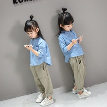 High quality pure cotton Female child autumn shirt baby child spring and autumn stand collar all-match shirt top basic shirt