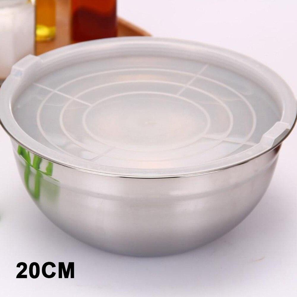Крышка салатник кухонные миски мгновенная лапша портативные Ланч-боксы кухонные инструменты для приготовления пищи смешивающая чаша практичная столовая - Цвет: 20cm