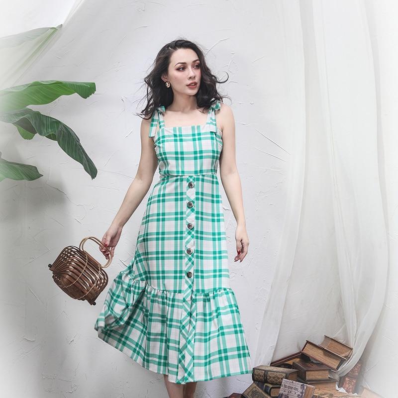 2018 été français Vintage vert robe à carreaux Slim taille haute boutons réglable sangle longue robe fermeture à glissière patte - 3