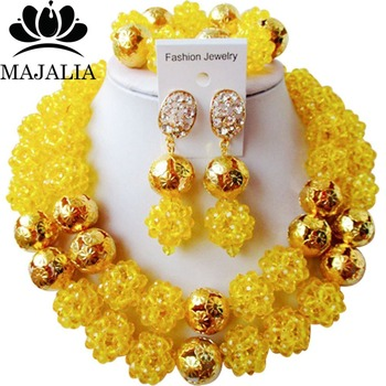 Fashion Nigeria Wedding african beads jewelry set yellow Crystal necklace bracelet earrings Free shipping VV-100