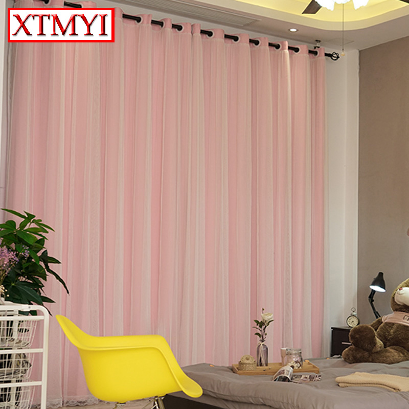 Custom blackout curtains voile girls room solid modern window ...