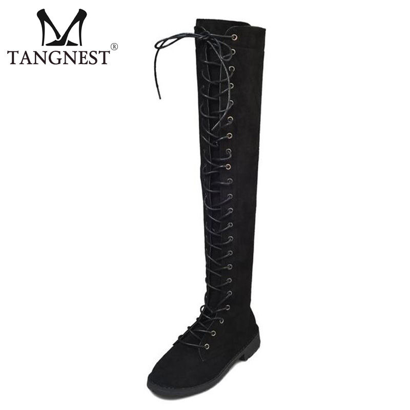 Tangnest NEW Autumn Women Over-the-Knee Boots Pu Leather Black Lace Up Motorcycle Boot Wedge Shoes Punk Thigh High Boots XWX6216 sexy thigh high flats women motorcycle boots lace up over the knee long celebrity woman boots shoes leather winter autumn shoes