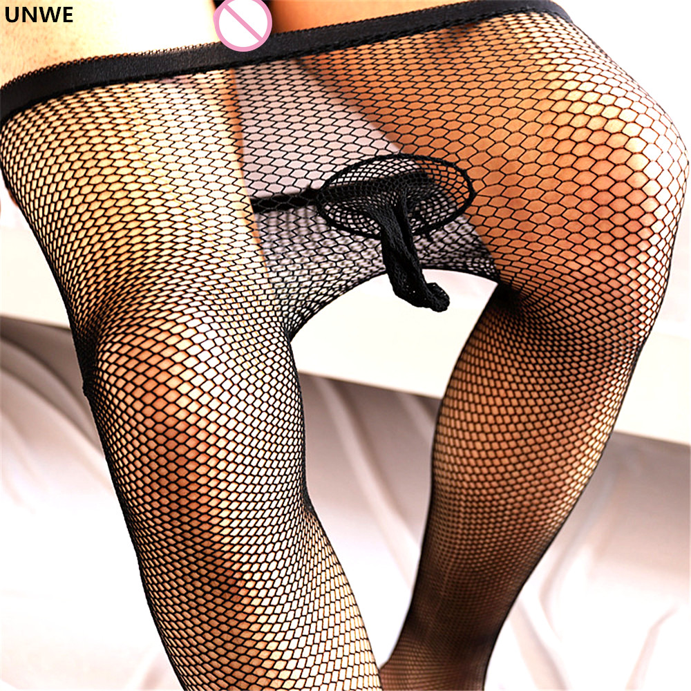 Fishnet Sexy Tights Men Breathable Hollow Out Stockings Black Anti-hook Sexy Grid Gay Pantyhose with Penis Sleeve Erotic Appearl(China)