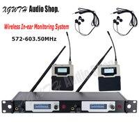 UHF Sem Fio In Ear Monitor System Professional Stage Desempenho Sistema de Monitoramento de Ouvido 2 Transmissor Receptor de Fone De Ouvido