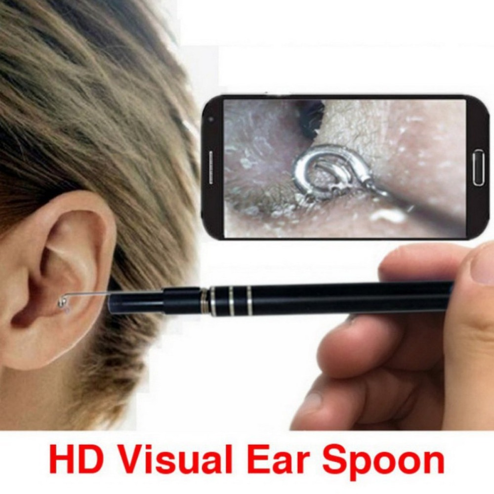 3 In 1 USB Endoscope HD Visual Ears Cleaning Spoon Portable Earpick With 6 LED Light Earwax Removal Kit 2018 New Selling