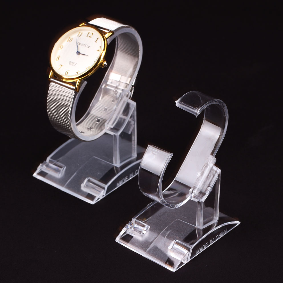 20pcs/lot Transparent Plastic Wrist Watch Display Holder Rack Store Shop Show Stand Shop Retail Clear Plastic Display slip-on shoe