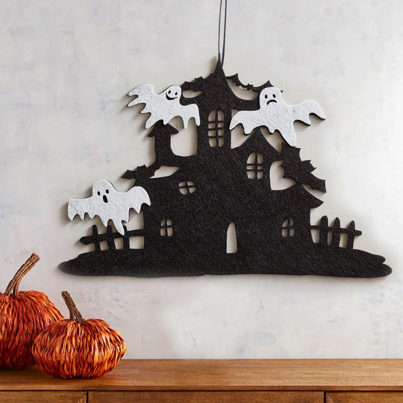 43.2x29.1x0.3cm Haunted House Halloween Elf Non-Woven Hanging Signs Wall Door Decoration Party Supplies Ornaments Props Foldable