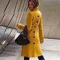 2016 Moda Outono e Inverno Cashmere Casacos De Lã das Mulheres Sexy Casaco de Lã Casaco Feminino Casaco Outerwear Trincheira Ocasional Das Senhoras