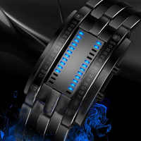 Creative Digital Watch Full Steel Binary Wrist Watch Women LED Electronic Sport Watches Waterproof Men's Watch Clock men relojes