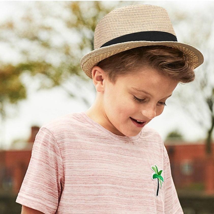 snowshine4   5001 2018 Hot Sales Children Kids Solid Summer Beach Straw Hat  Jazz Panama Trilby Fedora Hat Gangster Cap ... 3171d6ccf456