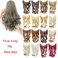 Thin 50g 22inch Wave Fish Line Hair Extensions Synthetic halo Hair HairPieces One Piece Heat Resistance Fiber 16 Colors