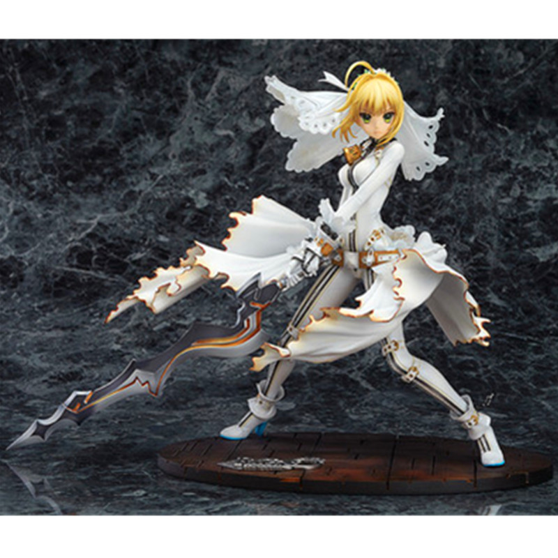 цены на Fate/stay Night Arturia Pendragon Bride Saber Wedding Dress PVC Action Figure Collection Toy G1702 в интернет-магазинах