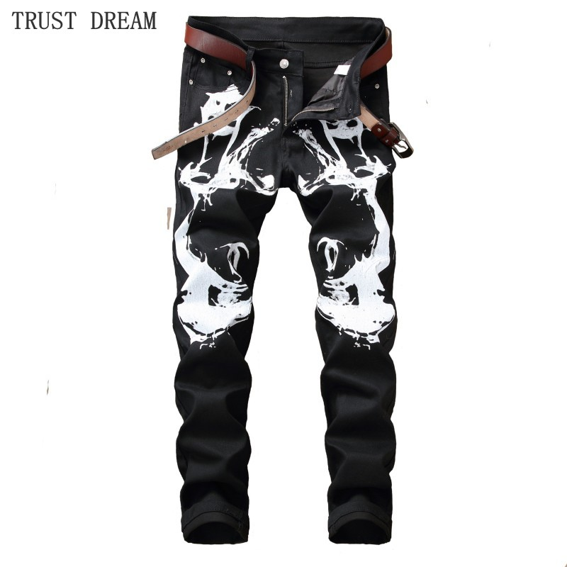 2018 Euro Designed Men Floral Slim Black Jeans Print White Graffiti Personal Pant Man Casual Club Street Fashion Amazing Jean