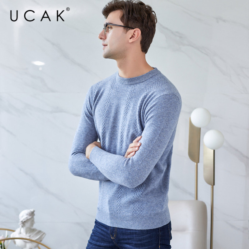UCAK Brand Merino Wool Sweater Men Autumn Winter Mens Sweaters 2019 New Arrival Pull Homme Soft Warm Cashmere Pullover Men U3029
