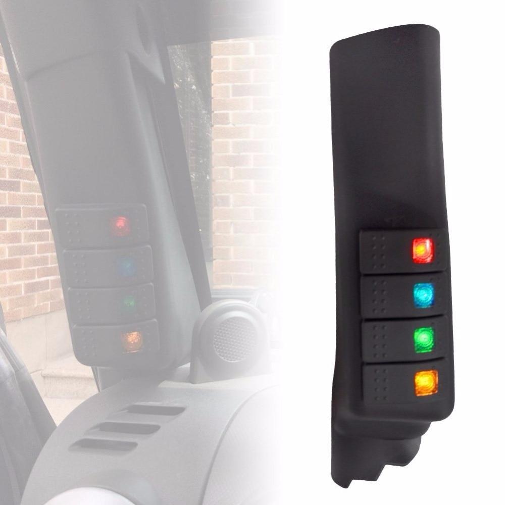 Black A-Pillar Left Side Switch Pod Kit For 2007 - 2017 Jeep JK Wrangler & Unlimited 2 piece set locking hood look catch hood latches kit for jeep wrangler jk rubicon sahara unlimited 2007 2016