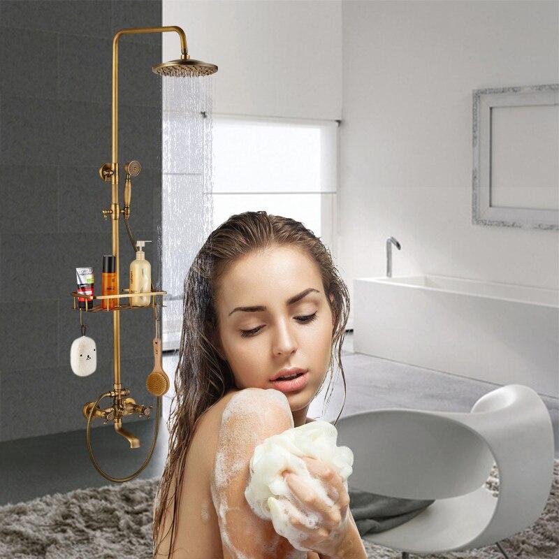Antique Brass Rainfall Shower Head Faucet Valve Tub Spout Hand Shower Wall Mounted Shower Faucets Sets wall mounted mixer valve rainfall antique brass shower faucet complete sets 8 brass shower head hand shower hose yt 5337a