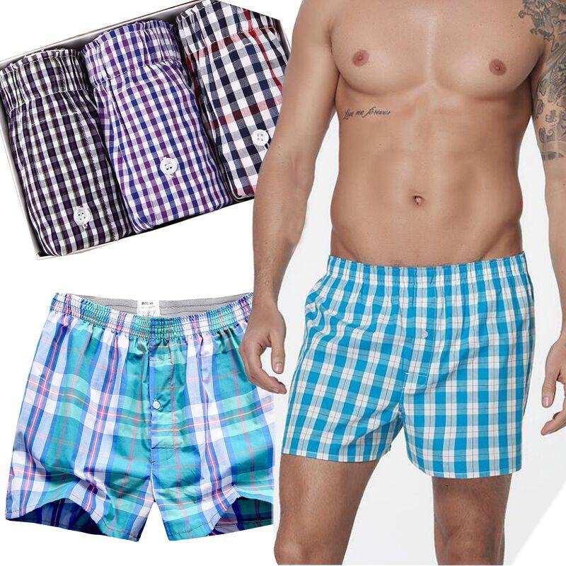 10 Pcs Boxer Male Boxers Mens Underwear Shorts Plaid Loose Boxershorts Men Cotton Comfortable trunks Home Panties High Quality