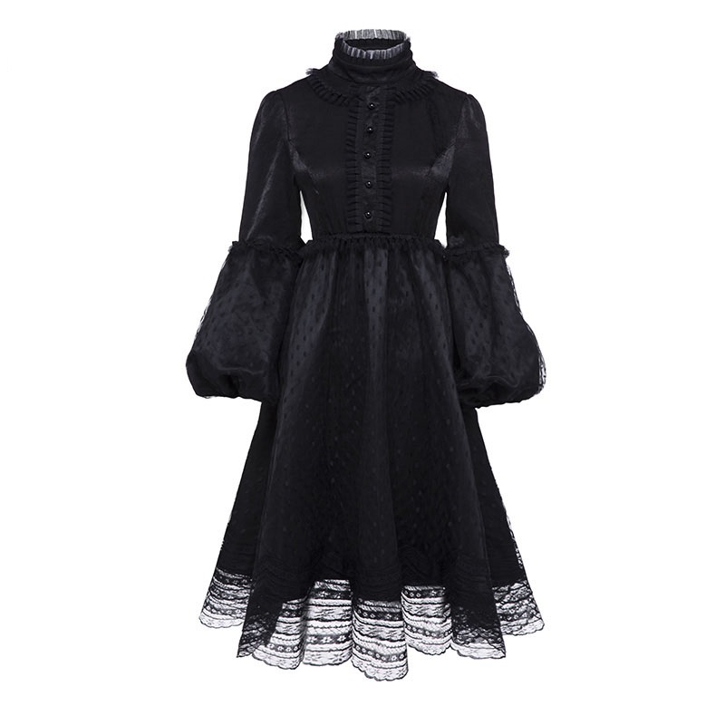 Sisjuly Women Vintage Dresses Autumn Black Plain Long Sleeve Mesh Lace Patchwork Knee Length Long Sleeve