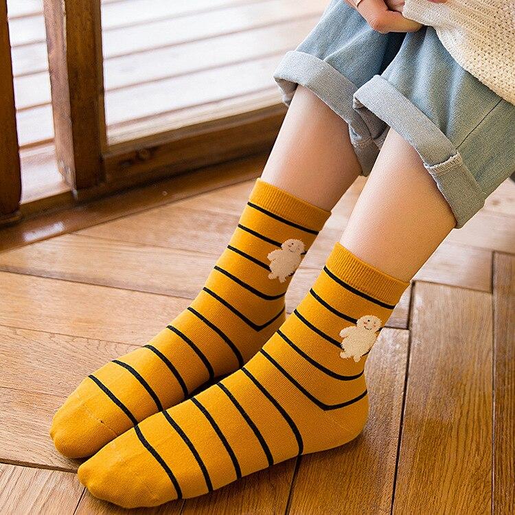 Hight Quality Men Socks 6Pair/Lot Yellow Stripe Pint Cotton Socks Casual Spring Socks ...