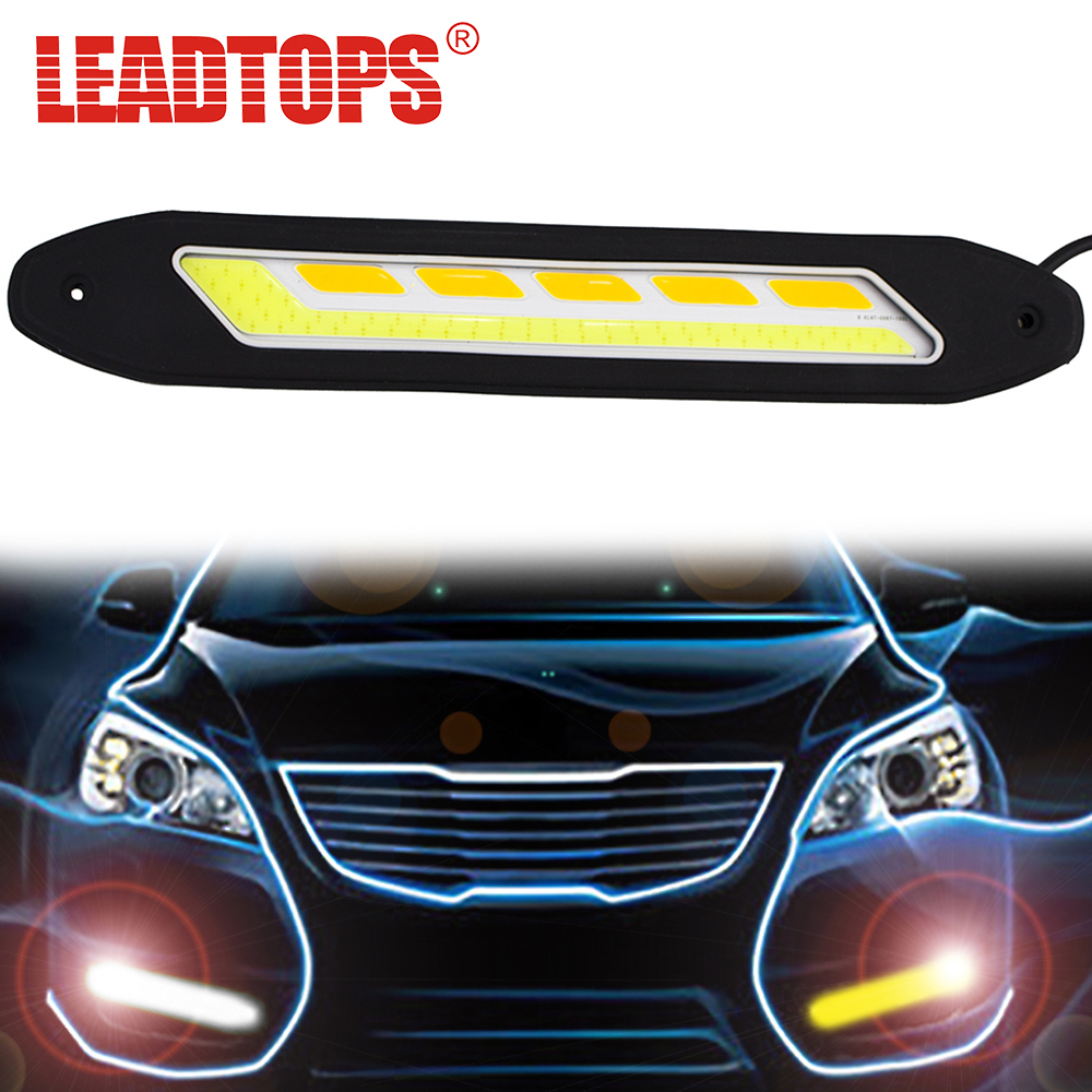 2PCS Flexible Side Turn Signals Light Waterproof Car Styling COB LED Daytime Running Lights DRL Fog Lights CA taitian 2pcs cob car bar drl led 12v waterproof flexible strip light for toyota benz ford focus led daytime running lights kit