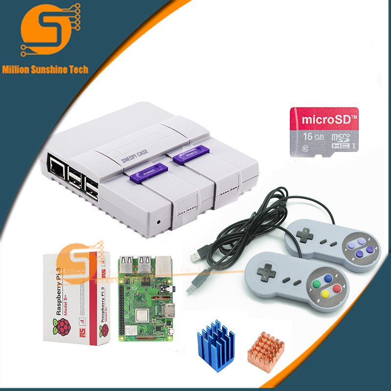 Newest! Raspberry Pi 3B+/module 3B++ Mini NES NESPI Case Enclosure Shell+16GB Card+2 Pcs Game Handle +heat Sink For RPI 3B/3B+