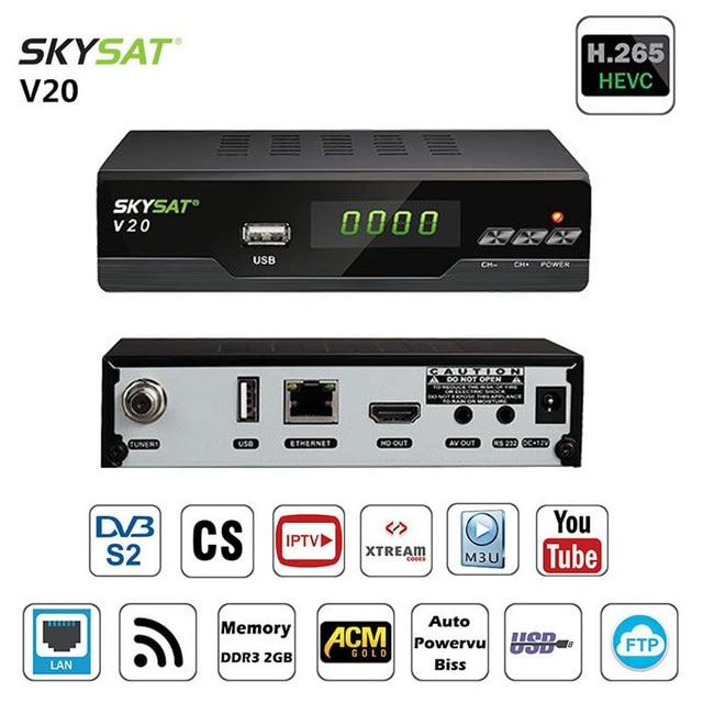 US $57 5  2018 Hot H 265 HEVC DVB S2 Satellite Receiver TV Tuner Autoroll  Power vu Biss Key LAN Support Cline Newcam IPTV M3u Youtube DLNA-in