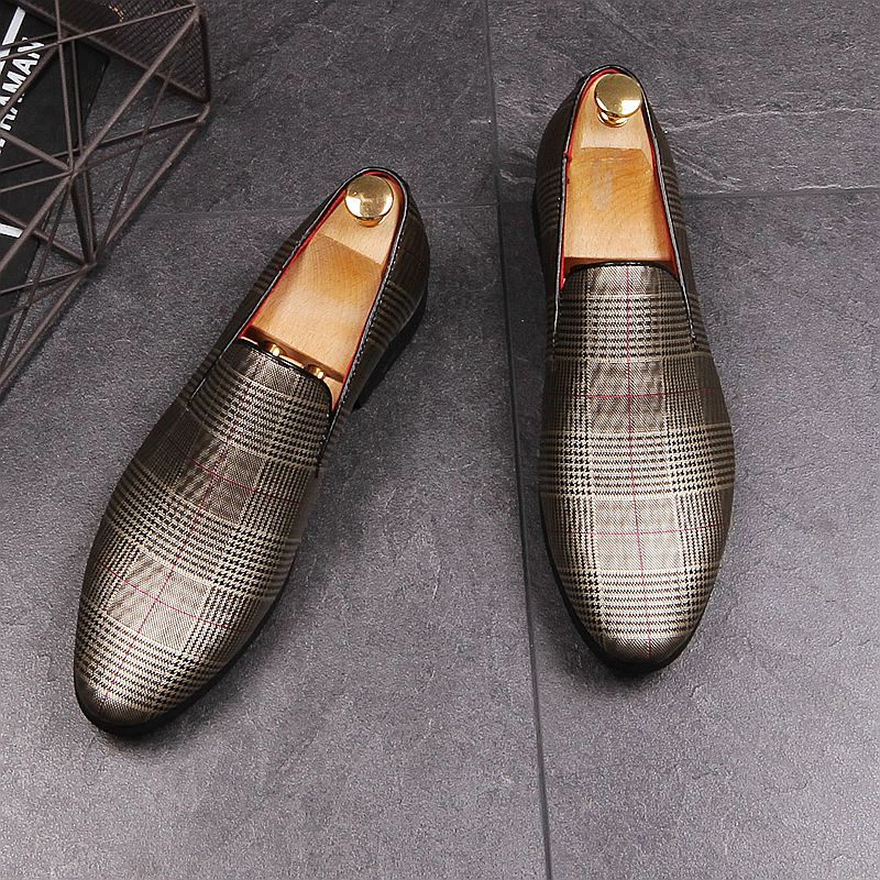 Plaid Men Casual Shoes Slip On Fashion Derby Shoes High Quality Male Design Loafers Flats Shoes Camisa Social Masculina Shoes 2015 100% slim fit xxxl camisa masculina 1212