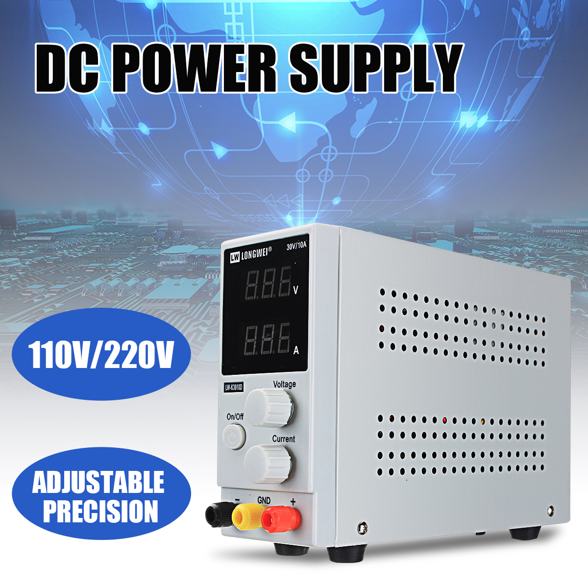220V 0-30V 0-10A LCD DC Power Supply Voltage Regulator Variable Adjustable Switching Regulated Power Supply Digital Laboratory