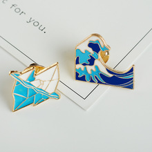 Iceberg and Billow Brooches Blue sea water spindrift Wave mountain peak badge Jewelry Male and female Lapel Pin Enamel Brooch