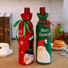 Санта-Клаус украшения подарочные пакеты Рождество Снеговик крышка винной бутылки Рождество ужин вечеринка украшения стола с Рождеством