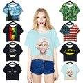 2016 Del Reggae Negro Batman Cat Sonrisa CropTop Camiseta de Manga Corta Remata camisetas Para Mujer Camisas de Jersey Sexy Recortada Camisa de Baile de Fitness