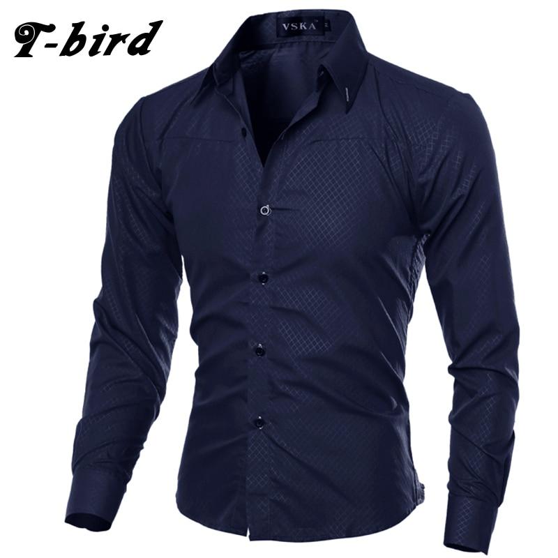 T-Bird 2017 Рубашки домашние муж. Для мужчин Модная рубашка в клетку с длинным рукавом Camisa masculina Для мужчин рубашка сплошной Цветная рубашка мужская брендовая одежда