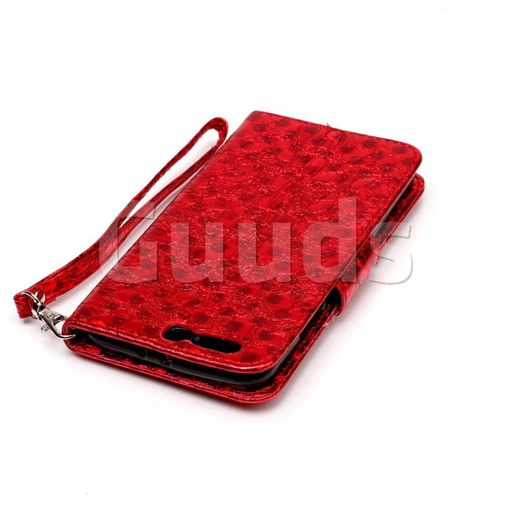 Luxury Laser Butterfly Optical Maser Leather Wallet Case for Huawei P10 Plus - Red