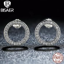 BISAER Valentine Day 925 Sterling Silver Earrings Clear CZ Forever Circle Round Stud Earrings For Women Silver Jewelry Brincos(China)