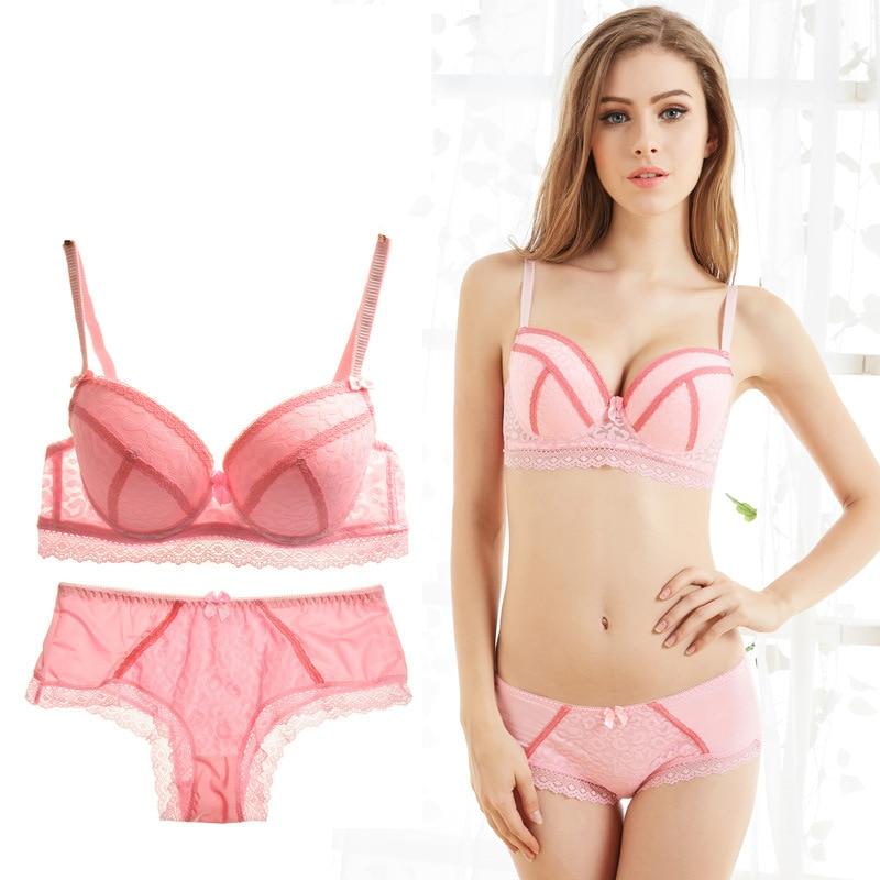 2019 bralette lingerie set sexy lace underwear push up bra set and panty set pink lenceria mujer underwire bra plus size women in Bra Brief Sets from Underwear Sleepwears