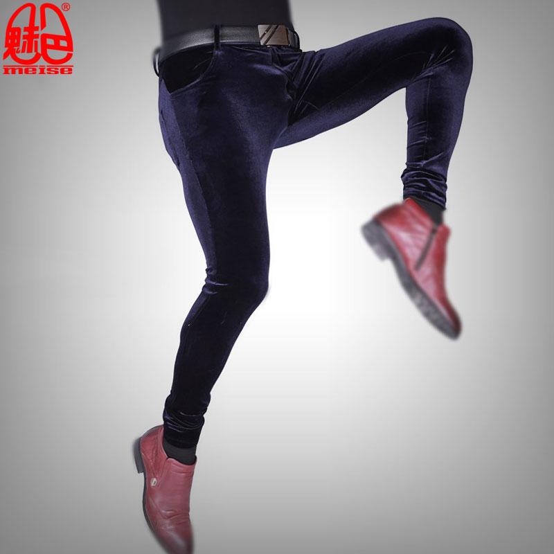 Sexy-Men-Plus-Size-Casual-Shiny-Pants-Elastic-Denim-Jeans-Lattice-Pencil-Pants-Soft-Slim-Clubwear