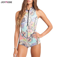 JOYMODE Monokini 2018 Sport Swimwear One Piece Swimsuit Women Zip Front Padded Bathing Suit Print Beach Wear Jumpsuit Bodysuit