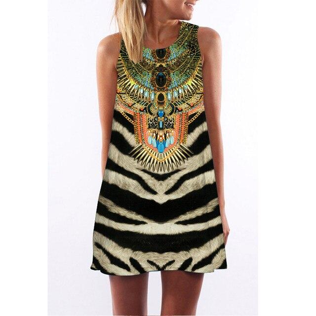 MEIBONA 2019 Woman Vintage Dress Tiger Pattern Print Sleeveless Summer Dress Loose Casual Beach Wear Vestidos De Verano
