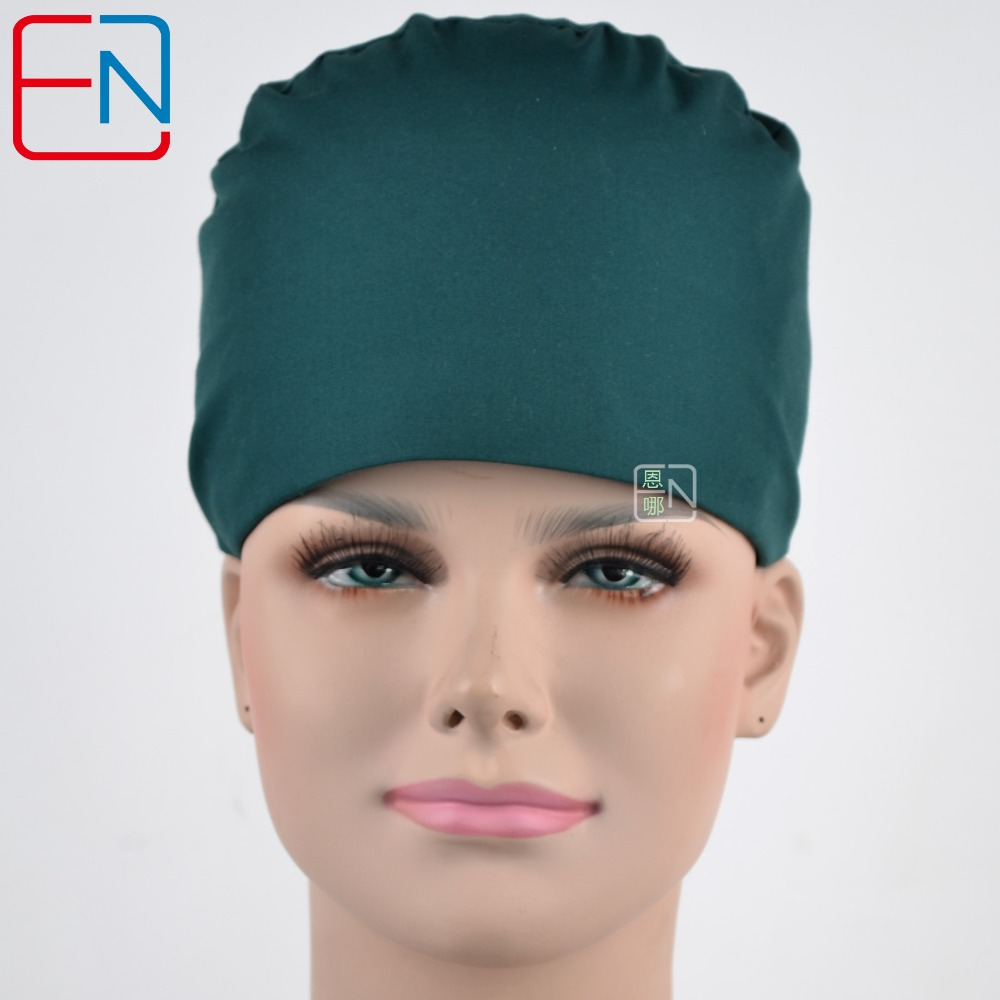 Hennar Surgical Caps For Doctors And Nurses Caps,T/C Scrub Caps In Dark Green