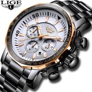 Image 5 - LIGE Mens Watches Top Brand Luxury Fashion Quartz Clock Mens Waterproof Big Dial Watch Men Military Sport Watch Erkek Kol Saati