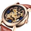 OUYAWEI, брендовые Золотые механические часы, Роскошные автоматические часы, мужские часы с кожаным ремешком, Скелетон, наручные часы, Reloj Hombre, п...
