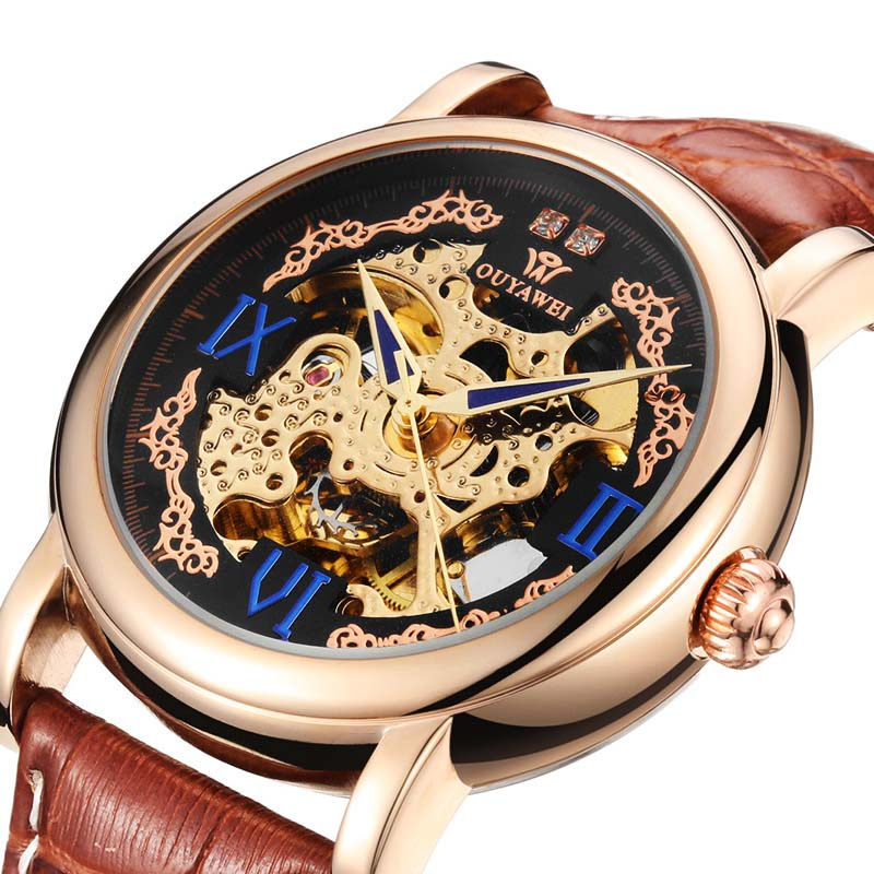 OUYAWEI Brand Gold Mechanical Watches Luxury Automatic Watches Mens Leather Strap Skeleton Wristwatches Reloj Hombre Gift Clocks ouyawei luxury brand mens automatic self wind analog watches full steel band gold fashion dress skeleton wristwatch hombre gift