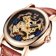OUYAWEI Brand Gold Mechanical Watches Luxury Automatic Mens Leather Strap Skeleton Wristwatches Reloj Hombre Gift Clocks