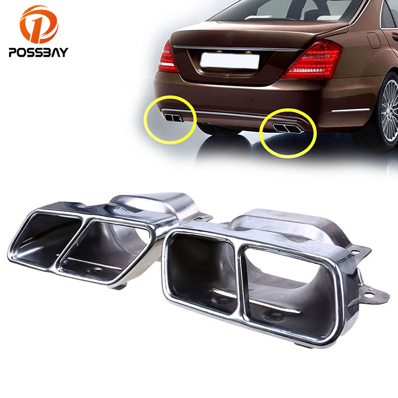 POSSBAY Car Rear Exhaust Pipes Tail Muffler Tips Tail Stainless Steel Cover for Mercedes Benz S-Class (W221) 2005-2013 Mercedes-Benz A-класс