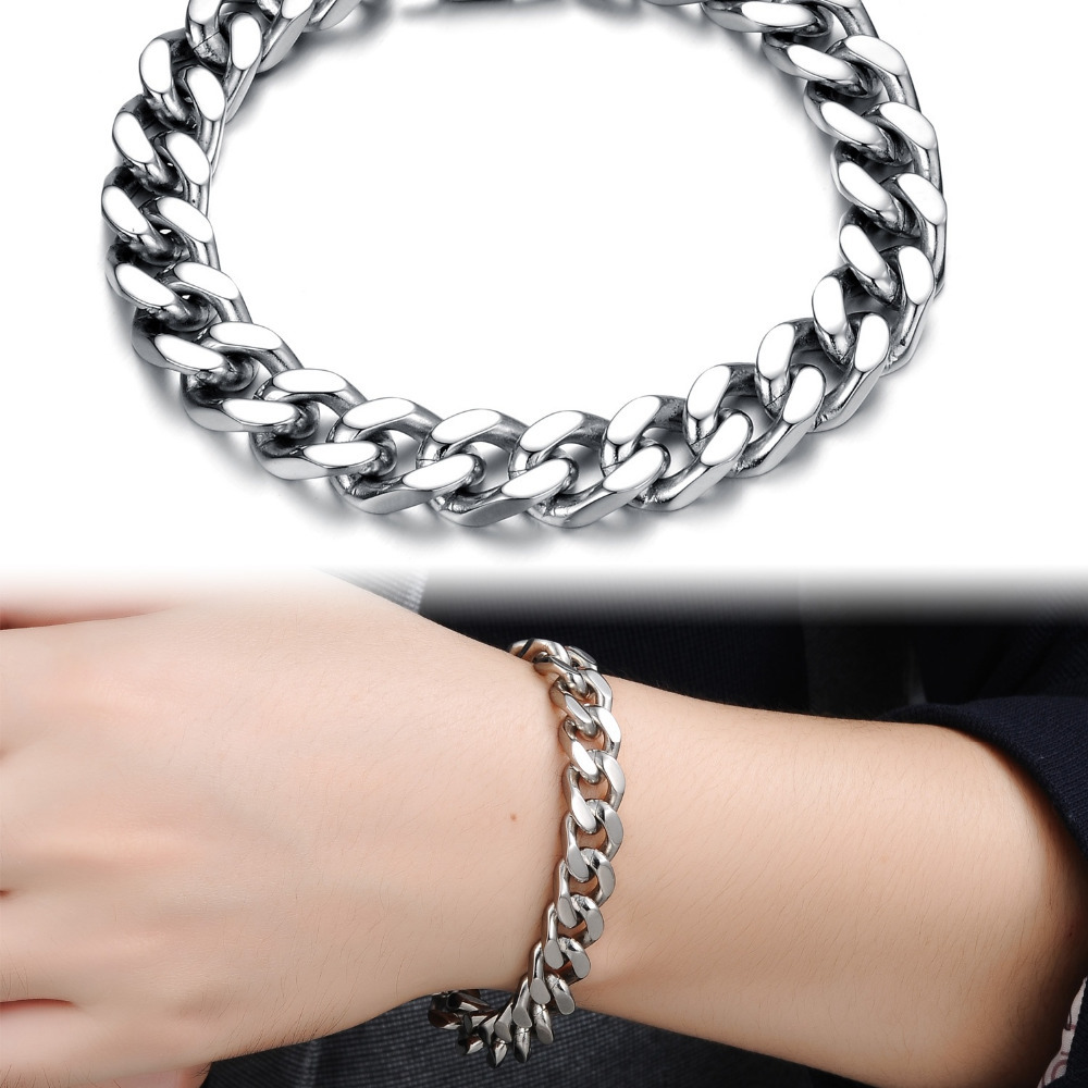 Cool Man Bracelets Fashion 316L Stainless Steel Chunky Link Chain Classical 22.5cm/21.5cm/20.5cm 2